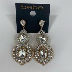 Bebe Gold Rhinestone Earrings NWT $39